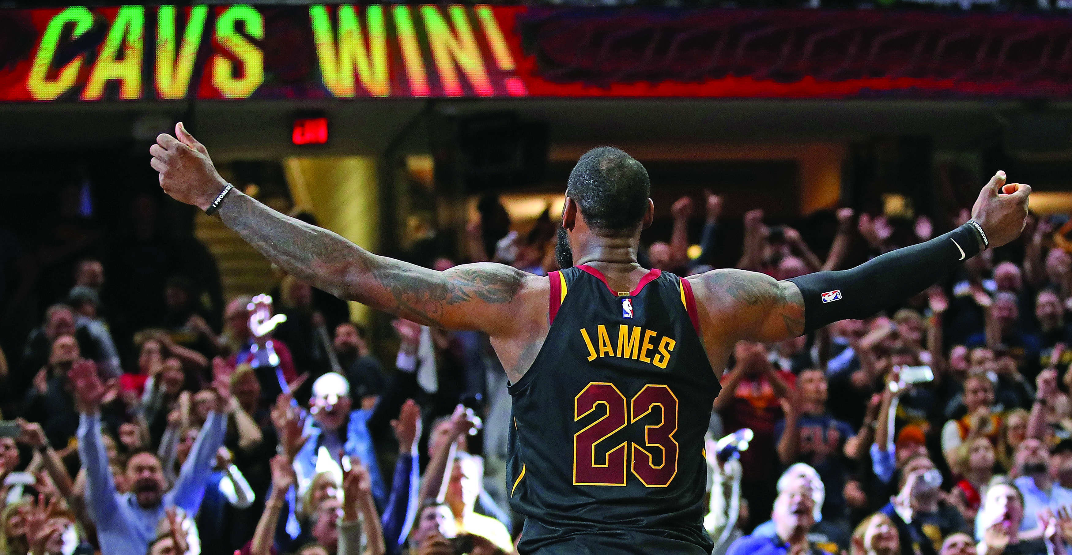 96ef6db98e3f LeBron James celebrates after hitting the game-winning shot to beat the  Toronto Raptors in Game 3 of the Eastern Conference semifinals on May 5.